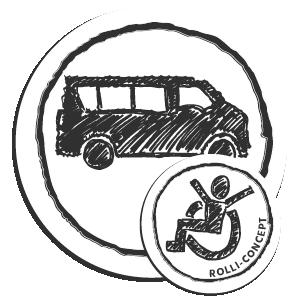 Runde Zeichnung mit einem Schulbus, einer Person im Rollstuhl und Text 'Rolli-Concept'