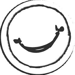 Runde Zeichnung mit einem Lächeln
