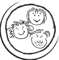 Runde Zeichnung mit drei Gesichtern