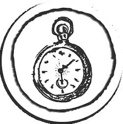 Runde Zeichnung mit einer aufziehbaren Uhr